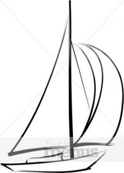 Drawn yacht sailing boat