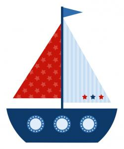 Sailboat clipart red and blue