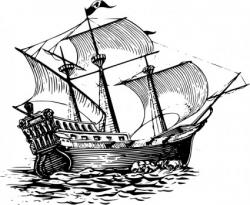Caravel clipart black and white