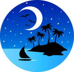 Sailing Boat clipart tropical island