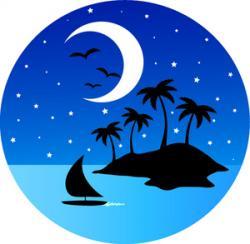 Sailing Boat clipart tropical island