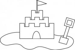 Sand Castle clipart black and white
