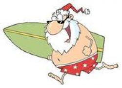 Santa clipart surfing
