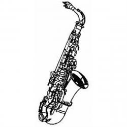 Saxophone clipart black and white