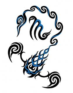 Drawn scorpion tribal art