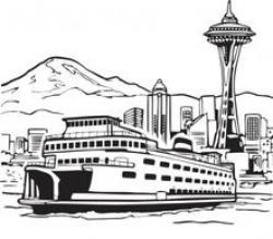 Ferry clipart black and white