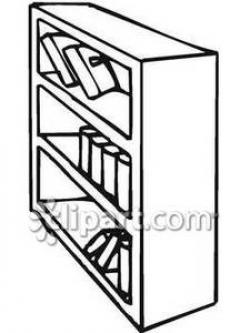 Bookcase clipart black and white