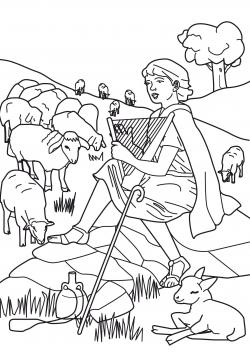 Shepherd Boy clipart coloring page