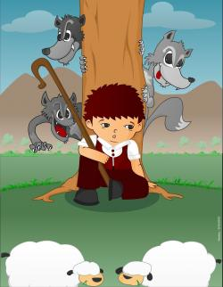 Shepherd Boy clipart sheep flock