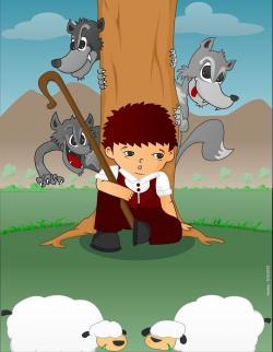 Shepherd Boy clipart sheep flock