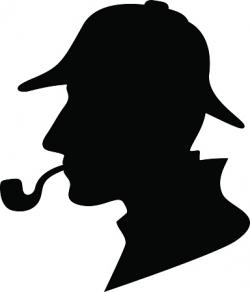 Sherlock Holmes clipart black and white