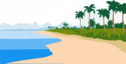 Seashore clipart palm tree beach