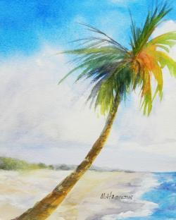 Seascape clipart palm tree beach
