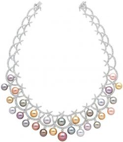 Drawn necklace pearl necklace