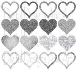 Hearts clipart silver glitter