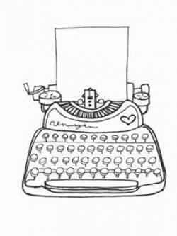 Typewriter clipart black and white