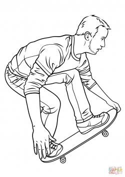 Drawn skateboard coloring