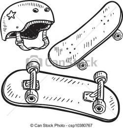 Drawn skateboard sketch