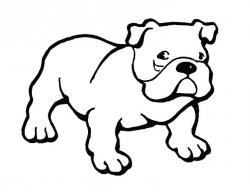 English Bulldog clipart black and white