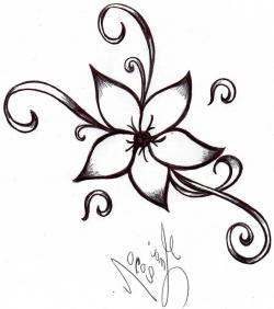 Drawn elower unique flower
