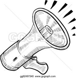 Sketch clipart megaphone