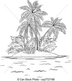 Drawn islet palm tree