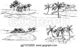 Sketch clipart tropical island