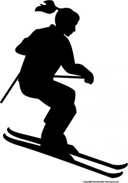 Silhouette clipart skier