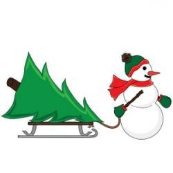 Sleigh clipart snowman