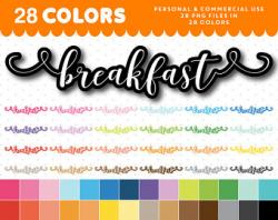 Typography clipart breakfast item