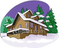 Lodge clipart snow covered house