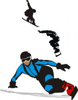 Snowboarding clipart downhill