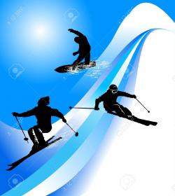 Skiing clipart mountain skiing