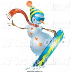 Snowboarding clipart snowman