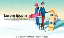 Snowboarding clipart winter vacation