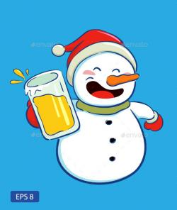 Snowman clipart beer