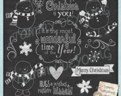 Snowman clipart chalkboard