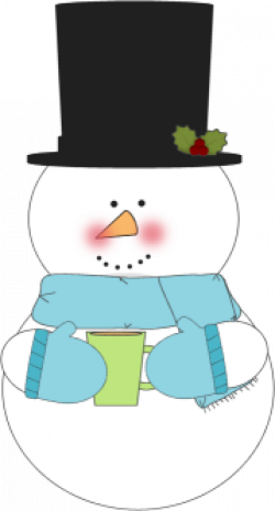 Snowman clipart drinking coffee