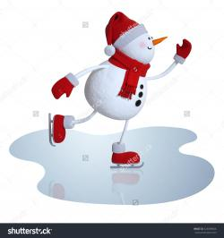 Snowman clipart ice skating