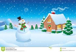 Snowfall clipart winter scene