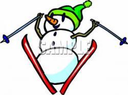 Snowman clipart skiing