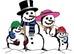 Snowman clipart snowman family