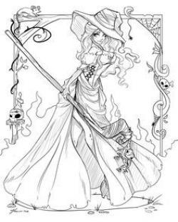 Sorceress clipart coloring