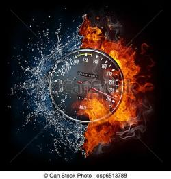 Speedometer clipart fire