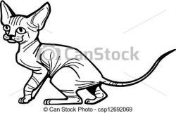 Sphynx Cat clipart black