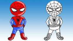 Spiderman clipart easy draw