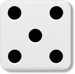 Five clipart dice