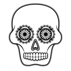 Sugar Skull clipart outline