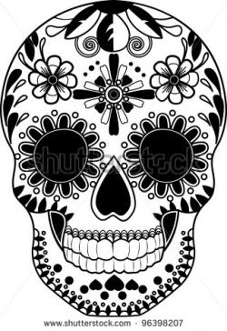 Sugar Skull clipart black and white