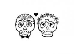 Sugar Skull clipart bride and groom